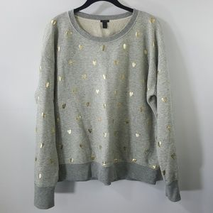 J. Crew gray heart scoop neck cotton sweater M